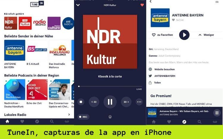 TuneIn, la radio internacional en tu bolsillo - Capturas de la app en iPhone